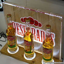 LED Backlit <span class=keywords><strong>Acryl</strong></span> Houten Bierfles Display Stand
