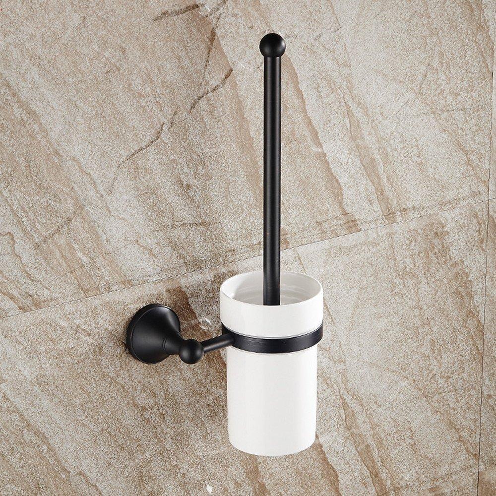 Copper toilet brush holder, toilet brush holder, toilet seat Cup holders, black antique black bronze toilet brush holder set, copper-style toilet mug