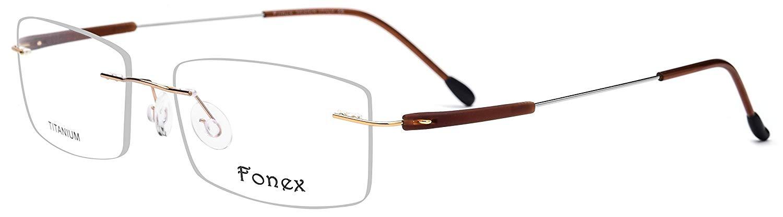 70d9b566b7e Get Quotations · FONEX Rimless Screwless Glasses Frame for Men Women Titanium  Alloy TR90 7020