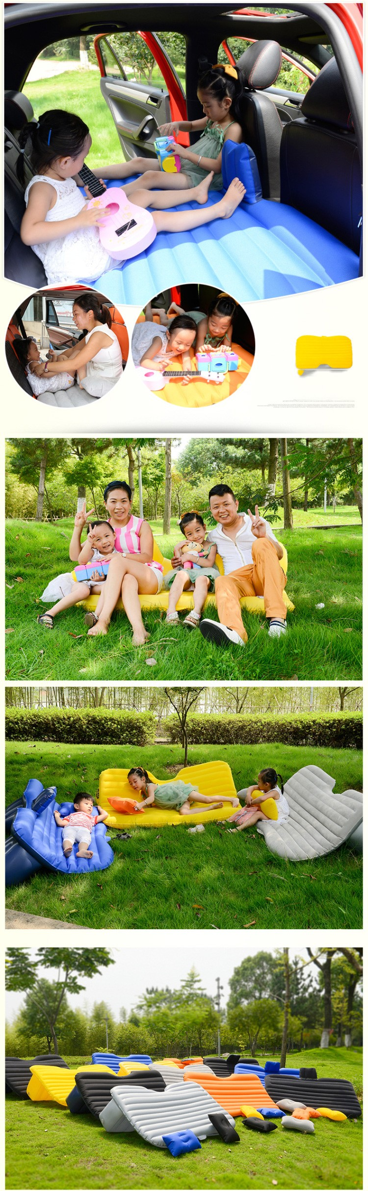 Backseat Inflatable Bed Portable Travel Car Back Seat Sleep Rest Inflatable Mattress Air
