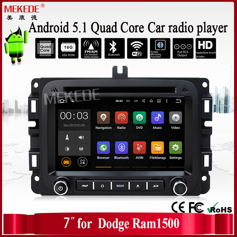 Factory price 7inch android 5.1 for Dodge Ram 1500 Car auto media with quad core Car auto media built-in wifi adapter Car stere