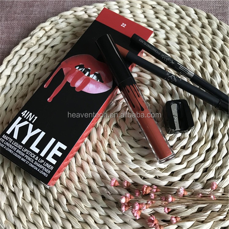 Wholesale kylie jenner 4 in1 box lip gloss with lipliner and eyeliner, pencil sharpener