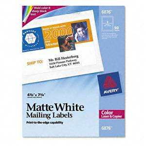 Avery : Shipping Labels for Color Laser & Copier, 4-3/4 x 7-3/4, Matte White, 50/Pack -:- Sold as 2 Packs of - 50 - / - Total of 100 Each