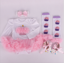 Baby Rompers 3PCs Infant Clothing Set Baby Girls White Pink Jumpsuit Headband Shoes 1st Birthday Tutu Dress