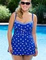 2016 Summer Fashion Plus Size One Piece Blue dot Print Vintage women Swimwear big size Sexy