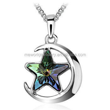 Women's Unique Design Half Moon Sun and Moon Necklace With Stars