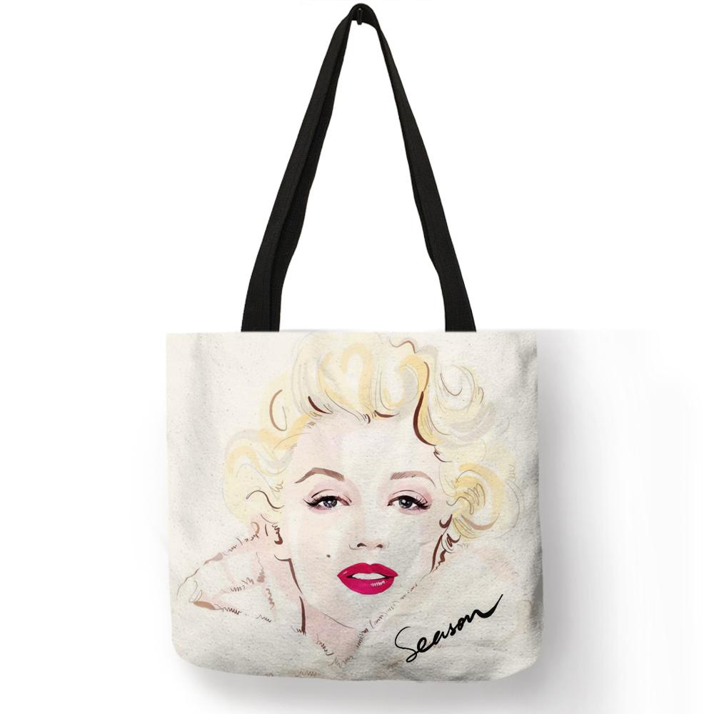 Индивидуальные известные Монро многоразовые хозяйственные сумки эко льняные сумки с цитатным принтом женские модные сумки(Китай)