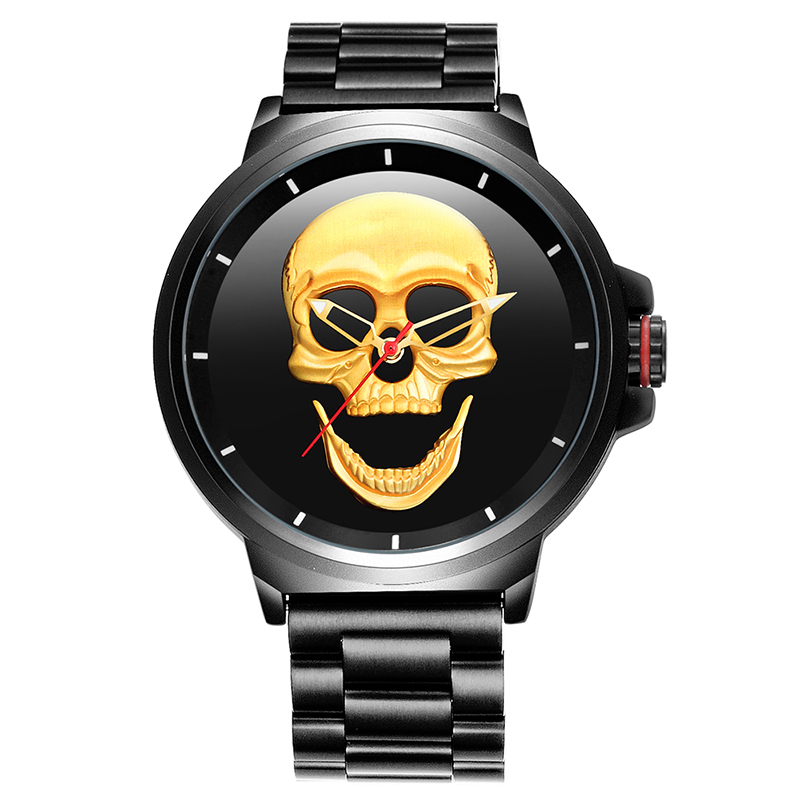 2019 Hot relojes hombre men watches stainless steel skull dial watches