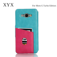 up-to-date styling mobile cover backside card slot flip case for moto g turbo edition
