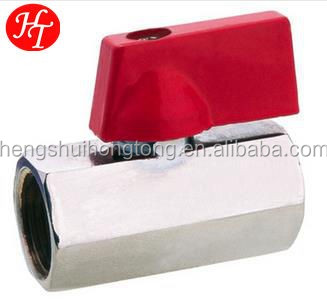 mini ball valve with polishing and forged full port DN 15 valves red handle of made in China