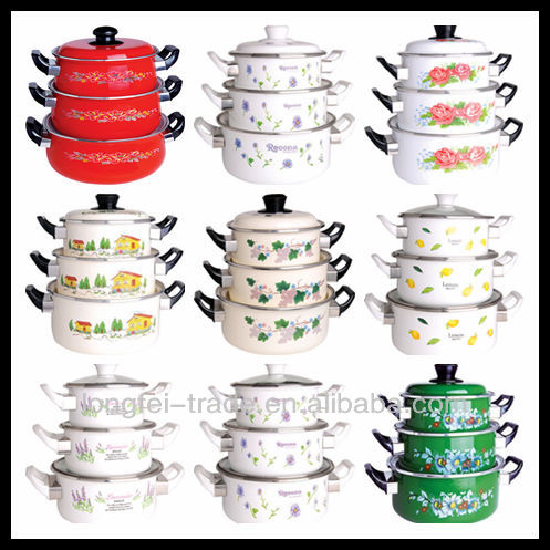 Bright colored enamel casserole set parini cookware with for Baking enamel paint on glass