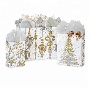 Recycled company Mercury Glass Christmas Paper Shopping brown Bags