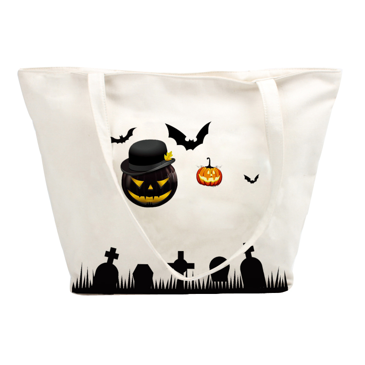 Halloween Bag Pattern Printing Organic Cotton Bags With Handle Shoulder Strap