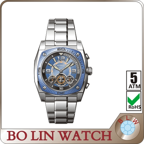 hot selling 3 ATM water resistant day/date chronograph Automatic Man mechanical watches blue dial making