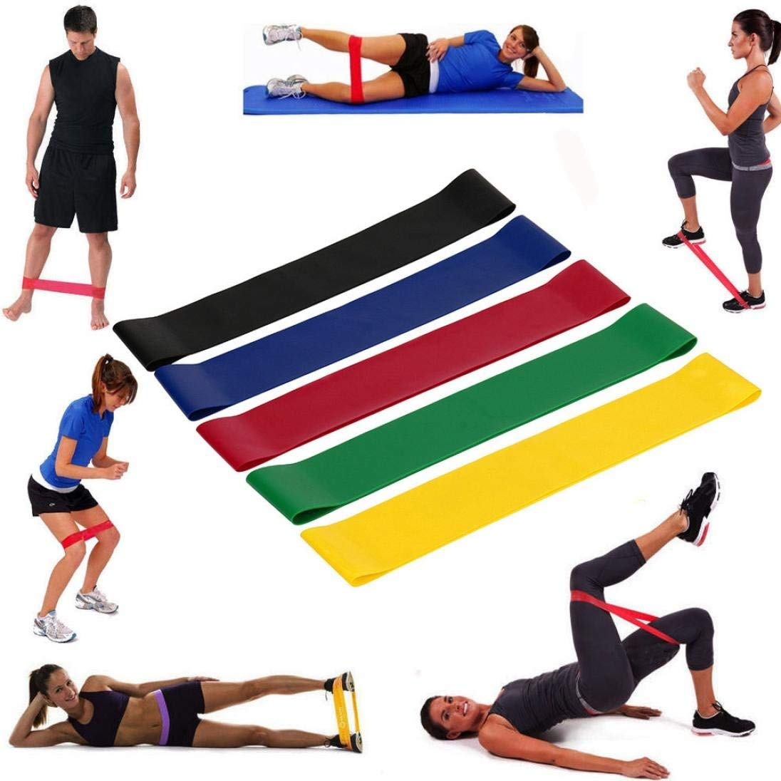 Weiyun Set of 5 Loops Exercise Workout Resistance Bands Different Strength Natural Latex Bands for Home Fitness, Stretching, Physical Therapy, Gym, Yoga