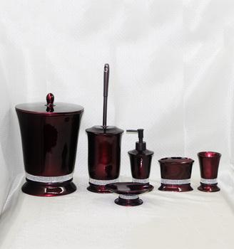 Premium Contemporary Dark Red Resin Bathroom Accessories Set Buy