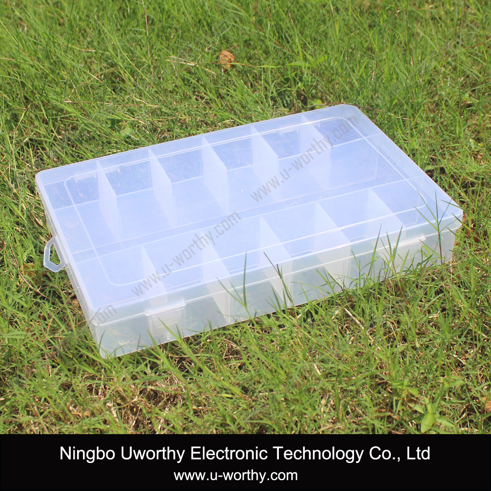 High Impact PP Plastic Transparent Storage Box / Case with Hinged Cover