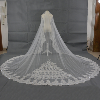 Long 5 Meter Lace Appliques Ivory Cathedral Wedding Veils