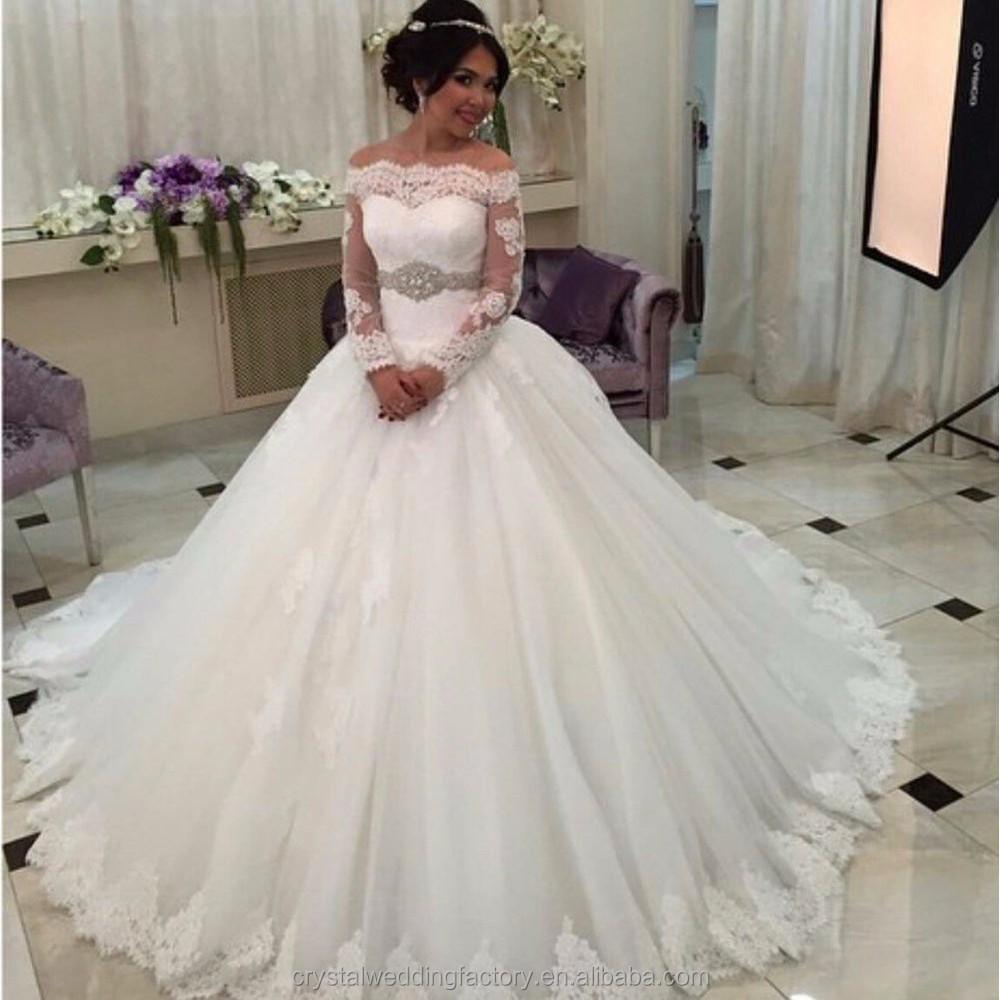 Saudi Arabia Robe De Mariage Luxury Long Sleeve Wedding Dresses Lace ...