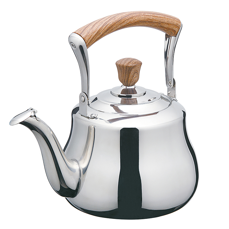 2.5l fast boil loud whistle stainless steel teapots kettle with wooden handle