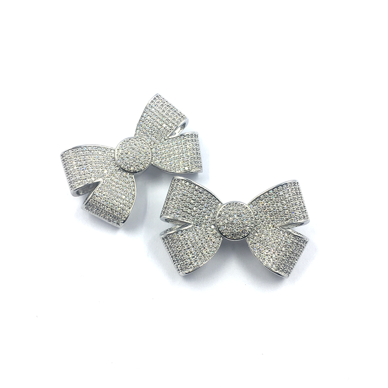 2020 Fashion New Style Birthday Present Bow Tie Sets Bulk White Rhinestones Bowknot Style Brooch Pins For Women Accessories
