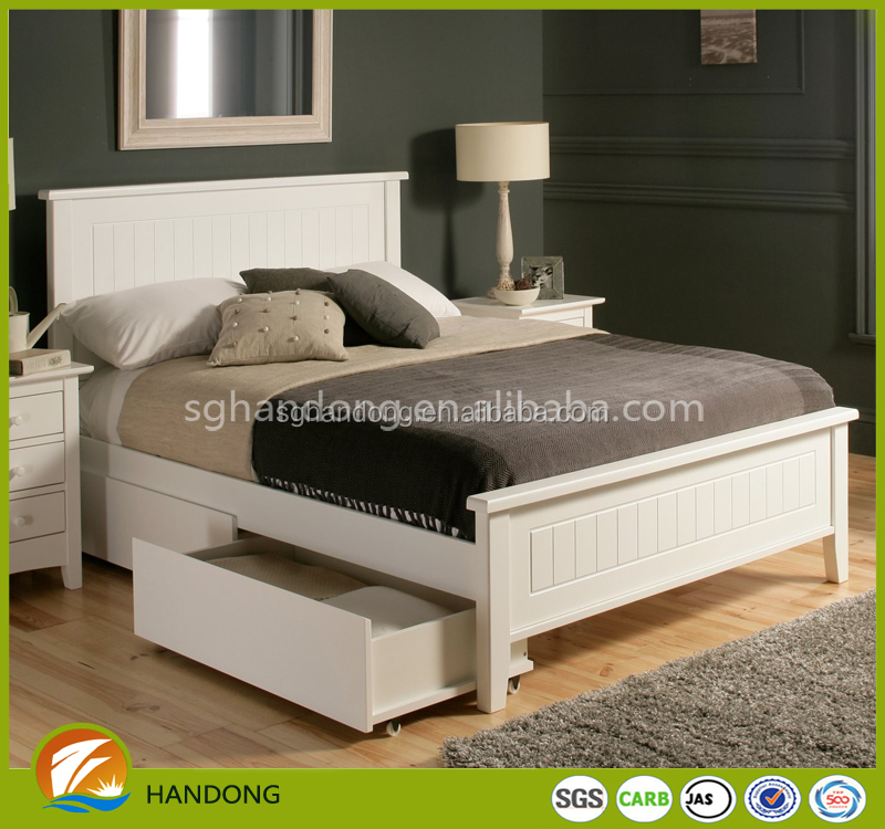 Latest New Designed Solid Pine Wooden White Indian Double Bed Designs In Wood