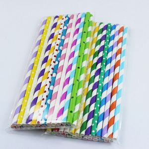 Professional made mixed stripe paper straw fsc paper for drinking