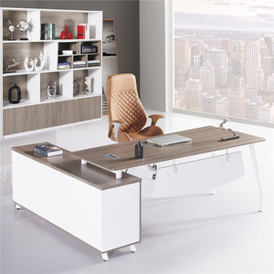 Modern desk with hutch white MDF/MFC office counter table office furniture design with side cabinet with drawer table office