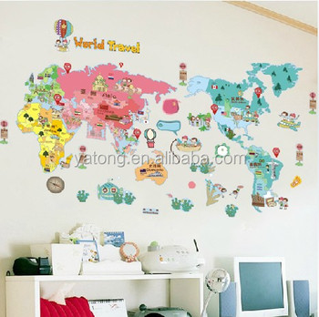 Color wall sticker world map buy wall sticker world map for Stickers decorativos infantiles