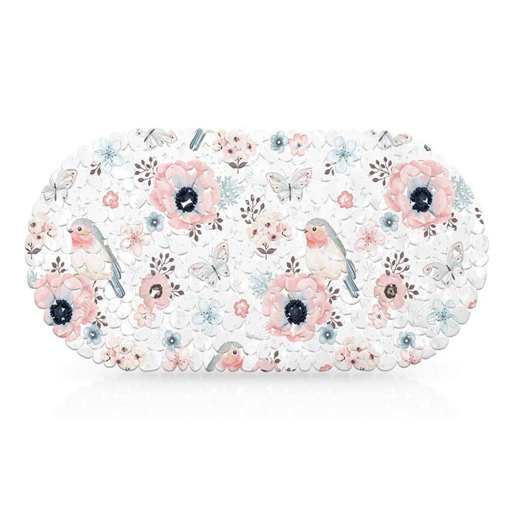 Hjyi Bath mat/69x35cm, Bathroom Non-Slip mat, PVC Sucker Print Bathroom mat