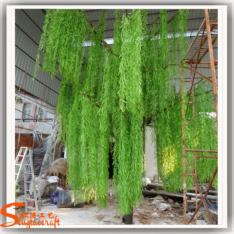 Large Outdoor Green Plastic Willow Leaves Plants