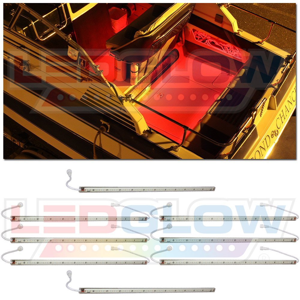 LEDGlow 8pc Red LED Boat Deck and Cabin Lighting Kit - 288 LEDs - Waterproof Connectors and Light Tubes