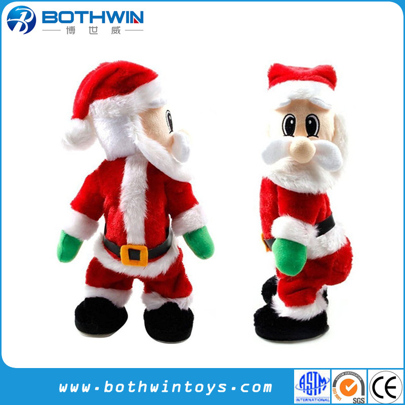 Christmas Singing Electric Santa Claus Plush Doll Toys
