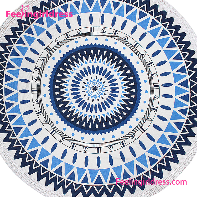 Thick Full Cotton Screen Printing Large Round Circle Beach Towel