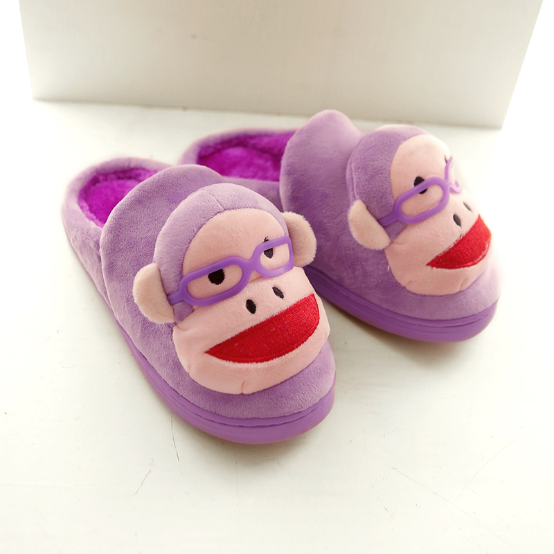 2017 Hot Monkey Pattern Winter Slippers Uni Platform Shoes Cute Bedroom Slipper Plus Size 35 44 Novelty Indoor Free Shipping In Price On