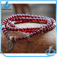dark red vintage stretch bead bracelet hill tribe fine silver leaf bracelet