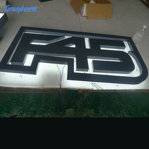high quality illuminated backlit house number 3D acrylic LED sign stainless steel letters