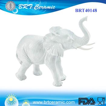 Home Decor White Porcelain Elephant Figurine
