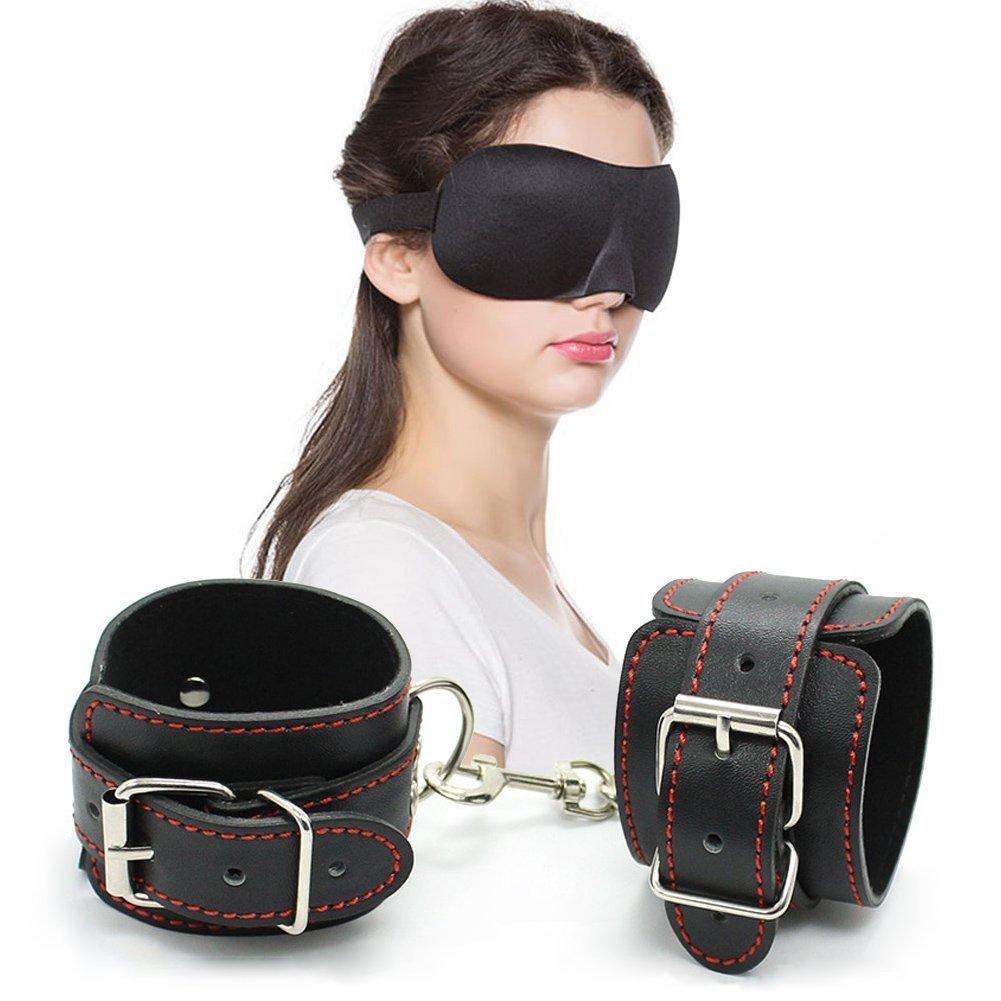Fuzzy Handcuffs Soft Leather Wrist Cuffs for Bondage Restraints + Blindfold Sleep Mask