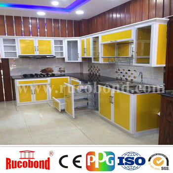 Alucobond Aluminum Composite Panel Yellow Color Kitchen Cabinets ACP