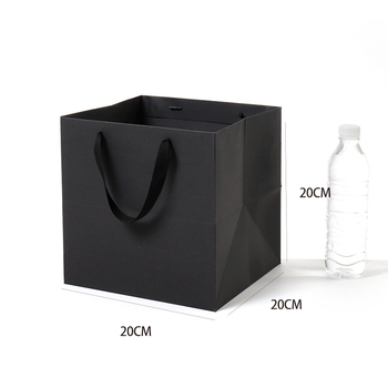 Wholesale custom logo paper shopping carrier bag customised white black gift packaging bag