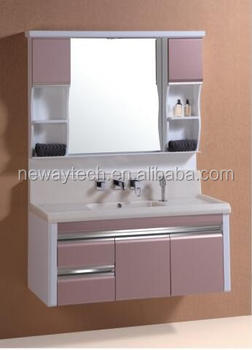 Merveilleux High Quality Pvc Wall Hanging Washbasin Cabinet Design With Side Cabinet