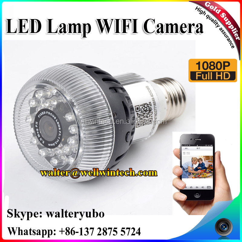 Wellwin Factory Best price 1080p mini hidden camera light bulb p2p remote control wifi lamp hidden camera E27