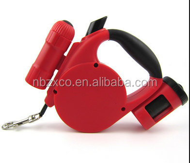Dogs Application and Leashes Collar & Leash Type multi function retractable dog leash with flashlight and bag