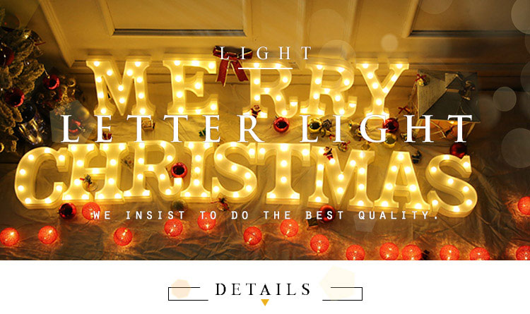 EXSUSS Most popular good quality light up led Christmas letter wall name sign