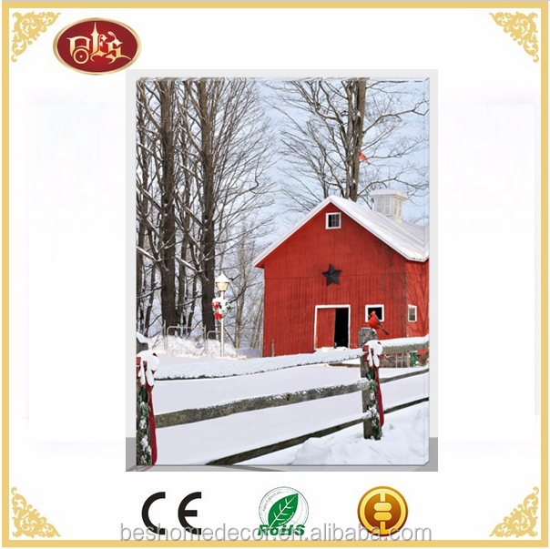 led winter scene Landscape printed canvas picture with led light
