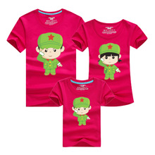 Family Matching Clothing Soft Cotton Shirt Family Look Style Father Mother Son Cartoon soldier image mother