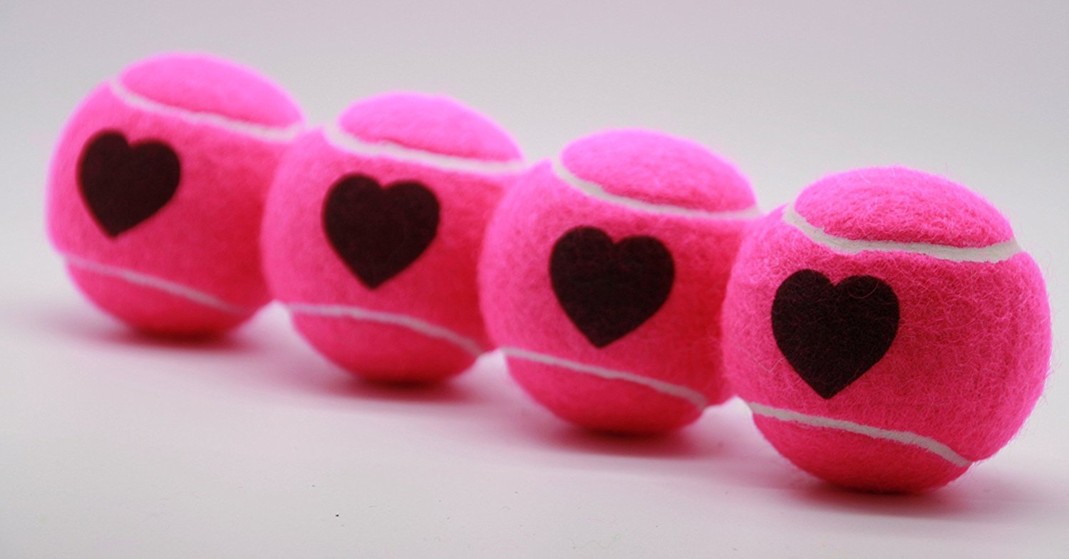 Price's Heart Motif Type 2 Tennis Balls Made in the UK (1 x 4 Ball Tube) Pink, pressureless, durable and long lasting.