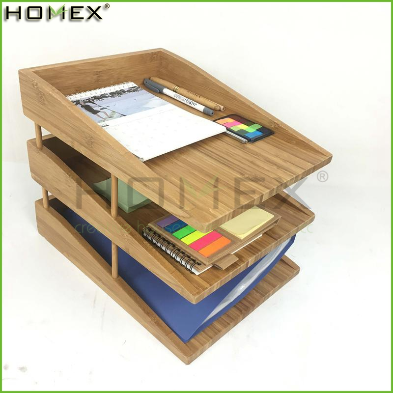 Office Desktop Bamboo File Storage Organizer/File Tray and Holder/Homex_FSC/BSCI Factory