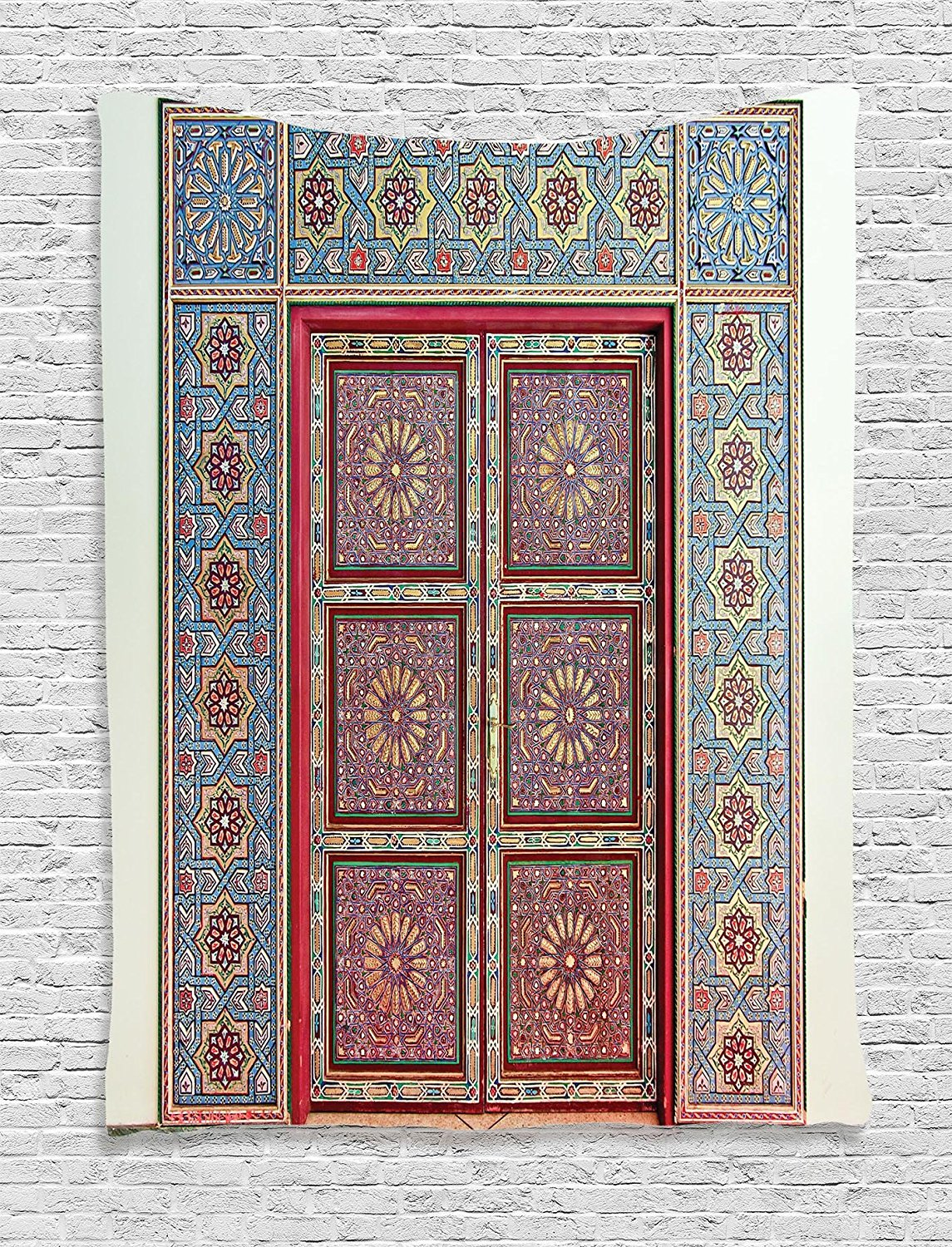 Ambesonne Moroccan Decor Collection, A Magnificent Moroccan Traditional Ancient Door Gate Brass Historic Handicraft Image, Bedroom Living Room Dorm Wall Hanging Tapestry, Blue Coral
